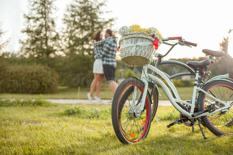 Cheerful loving couple is dating in the park royalty free stock image