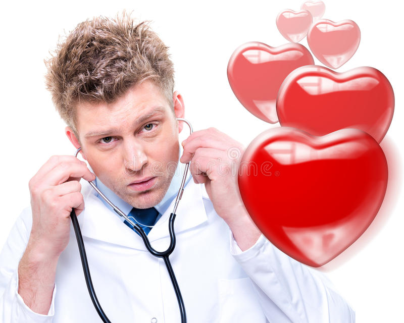 Download Cheerful Male Doctor Listening Heartbeat Stock Image - Image: 29400991