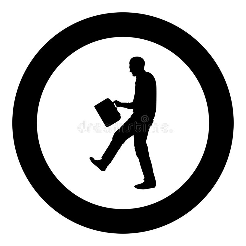 Cheerful man with a briefcase Concept success win Successfull bussines man icon black color vector in circle round illustration stock illustration