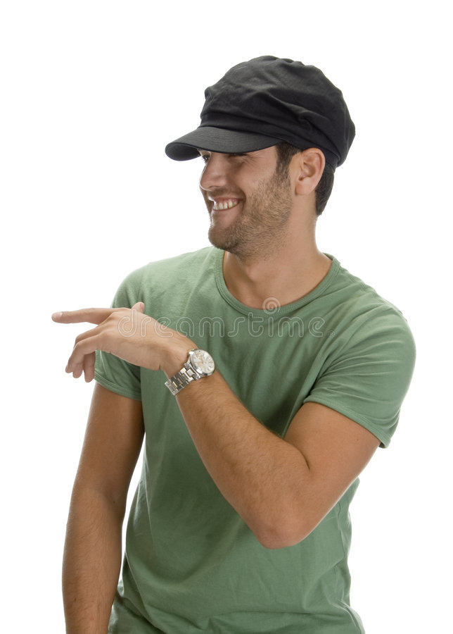 Cheerful man with cap and watch royalty free stock image