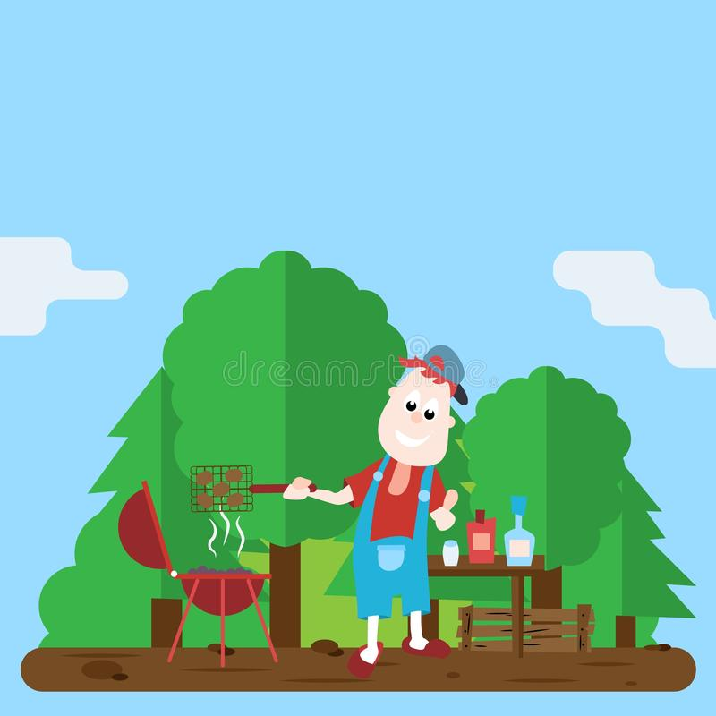 Cheerful man cooks a barbecue on the grill. Cartoon Vector Illustration. Cheerful man preparing barbecue on the barbecue grill cartoon vector Illustration stock illustration