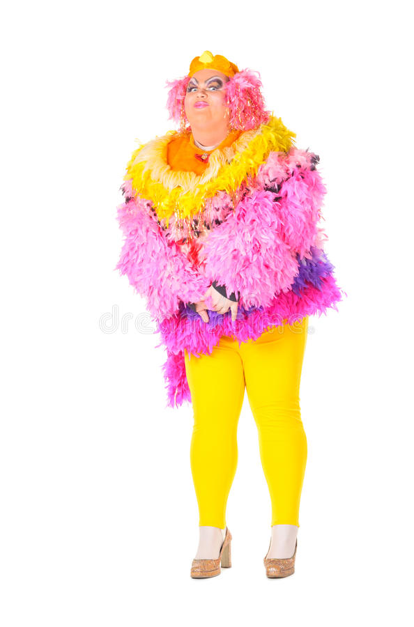 Cheerful Man, Drag Queen, In A Female Suit Royalty Free Stock Photography