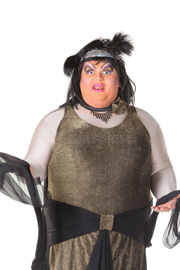 Download Cheerful Man, Drag Queen, In A Female Suit Stock Image - Image of comedian, gesture: 29076787
