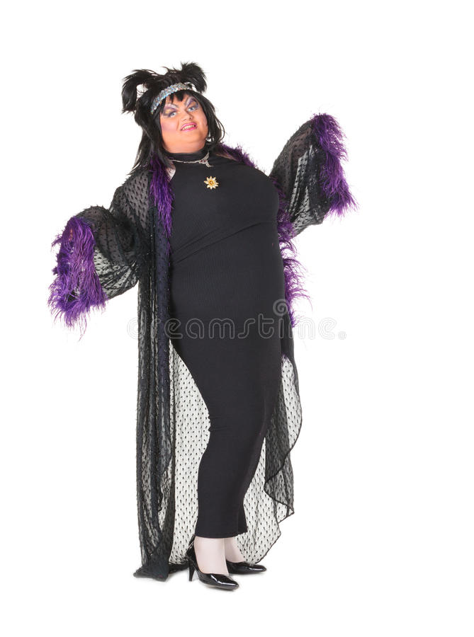 Cheerful Man, Drag Queen, In A Female Suit Royalty Free Stock Photos