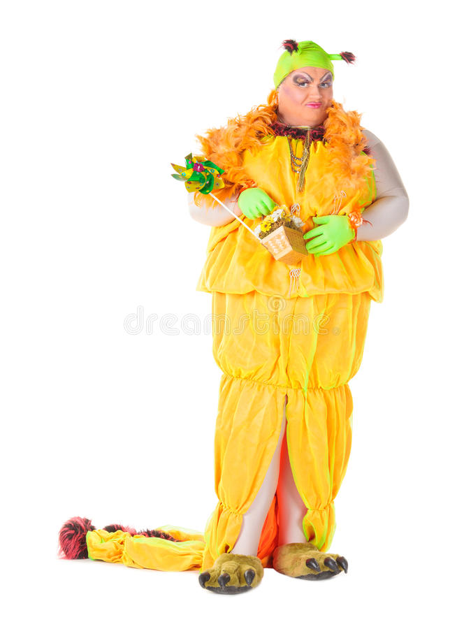 Cheerful Man, Drag Queen, In A Female Suit Royalty Free Stock Image