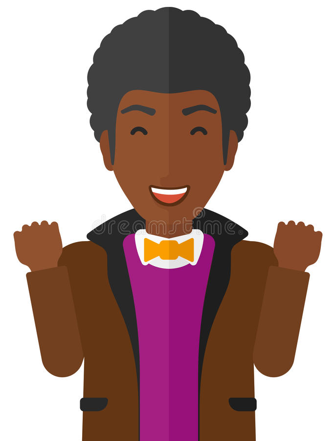 Cheerful man experiencing euphoria. Cheerful an african-american man in euphoria with raised hands and closed eyes vector flat design illustration on white vector illustration