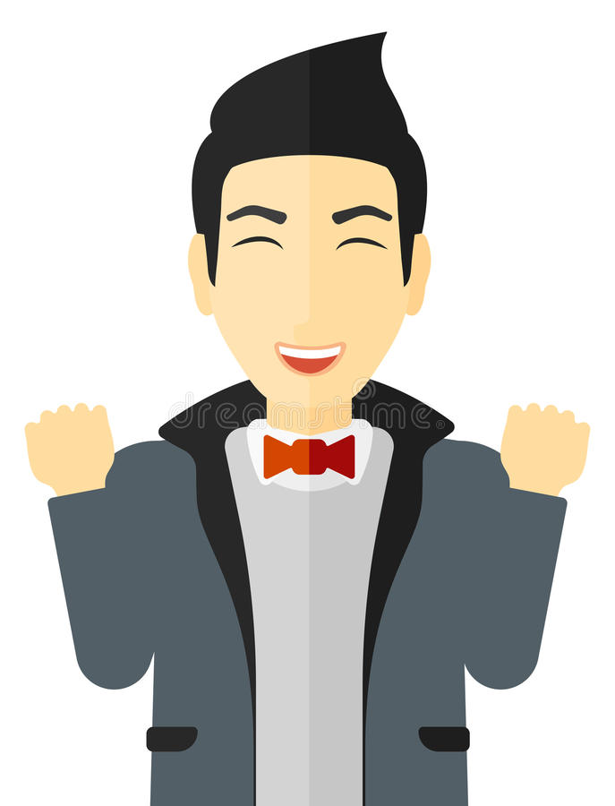 Cheerful man experiencing euphoria. Cheerful man in euphoria with raised hands and closed eyes vector flat design illustration on white background vector illustration