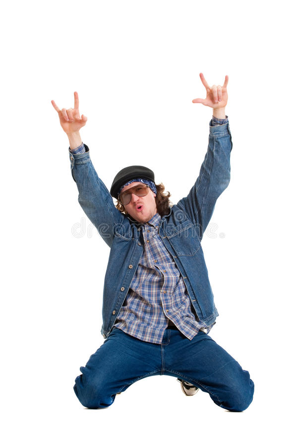 Cheerful man in hat stock image