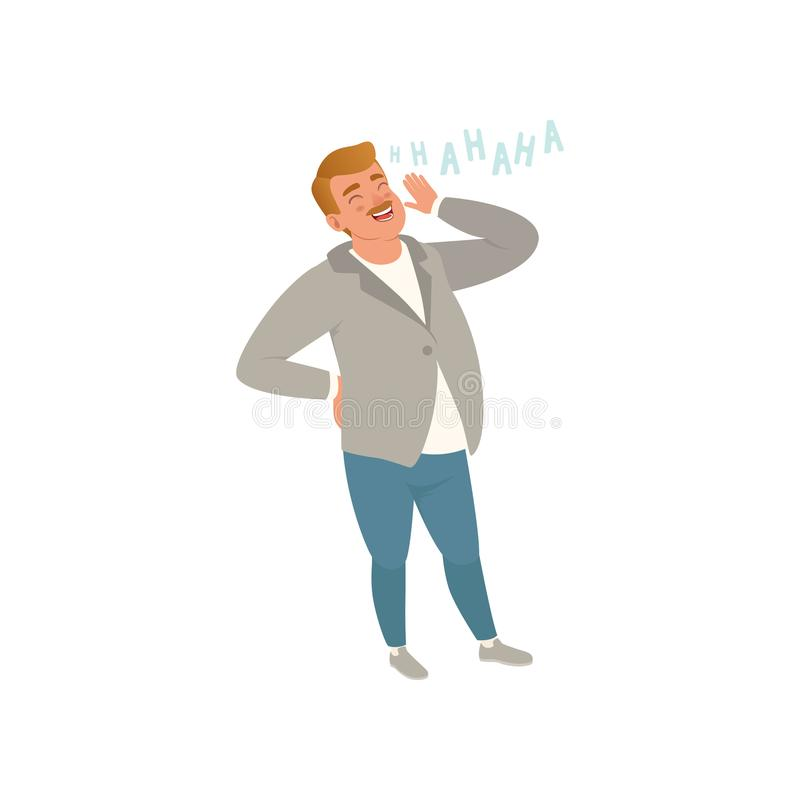 Cheerful man laughing out loud vector Illustration on a white background. Cheerful man laughing out loud vector Illustration isolated on a white background stock illustration