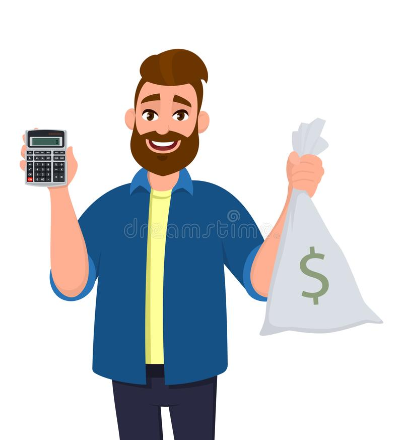 Cheerful man showing or holding digital calculator device and cash, money, currency note bag in hand. Modern lifestyle. stock illustration