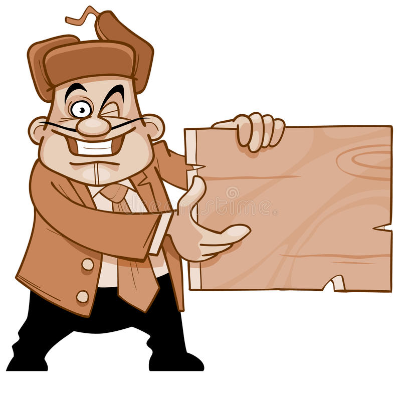 Cheerful man in a suit and fur hat, holding empty signboard vector illustration
