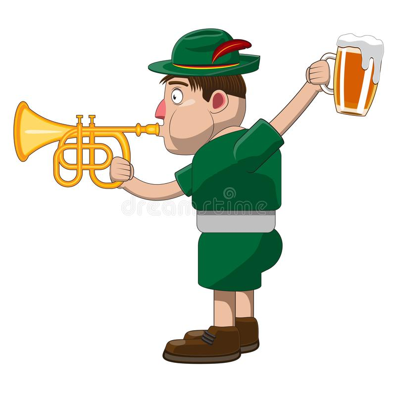 A cheerful man in traditional Bavarian clothing holds a mug of beer and an musical trumpet. Humor caricature. Design element icon vector illustration