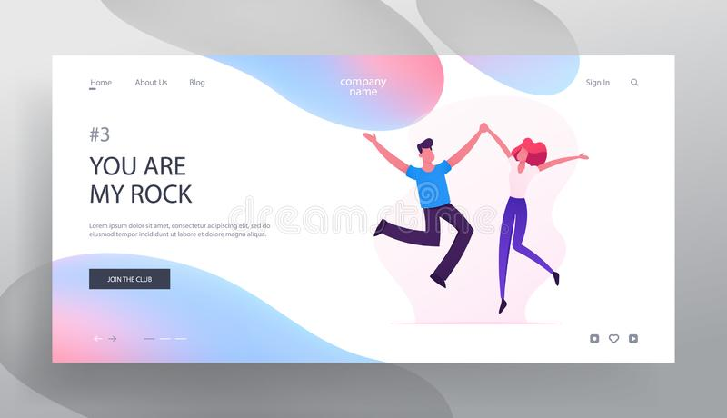 Cheerful Man and Woman Characters Spend Time Together Website Landing Page, Happy Loving Couple Jumping with Hands Up vector illustration