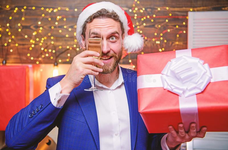 Cheerful manager formal suit celebrate corporate party. New year party. Cheers. Man bearded businessman celebrate new stock photo