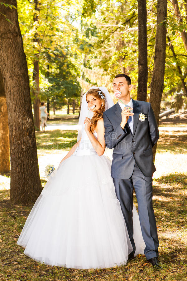 Cheerful married couple royalty free stock images
