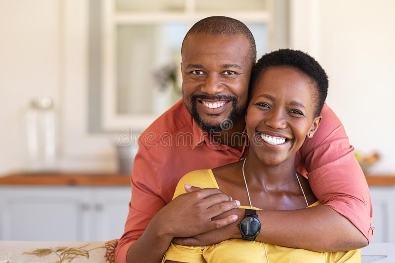 Cheerful mature balck couple stock photo