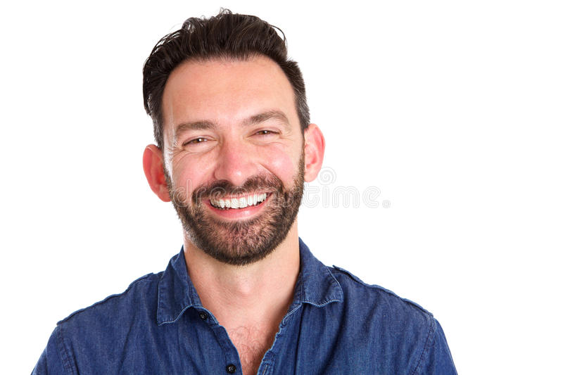 Cheerful mature man with beard. Close up portrait of cheerful mature man with beard against white background royalty free stock images