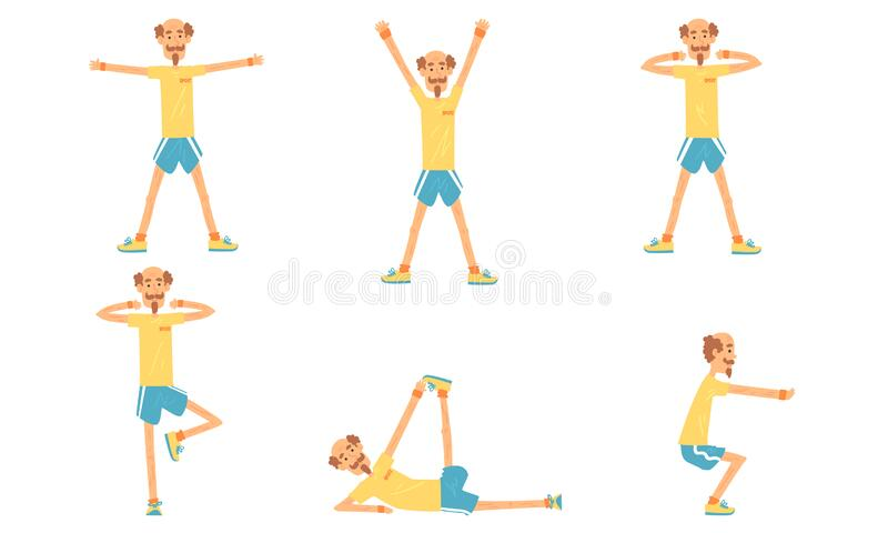 Cheerful Mature Man Doing Morning Esercita Raccolta, Active Healthy Workout di persone anziane, persone impegnate in sport illustrazione di stock