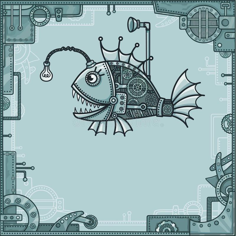 Cheerful mechanical fish. Background - a frame from metal details, the iron mechanism. stock illustration