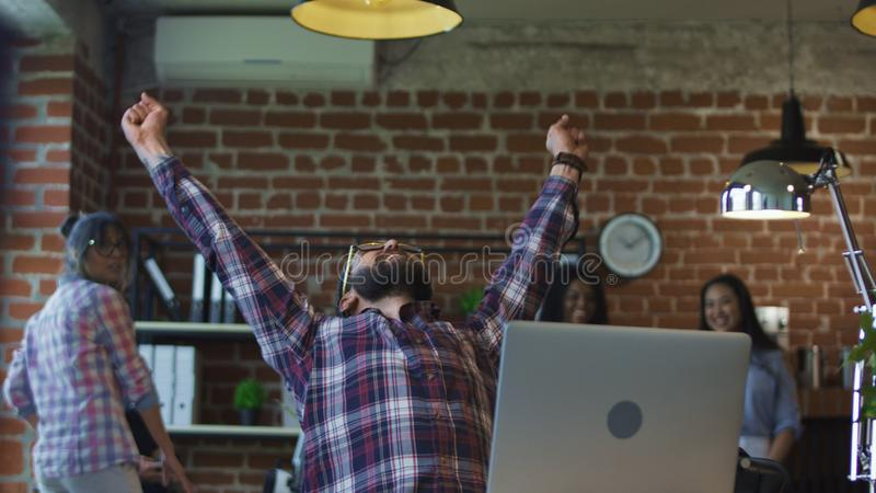 Man receiving good news in office royalty free stock photos