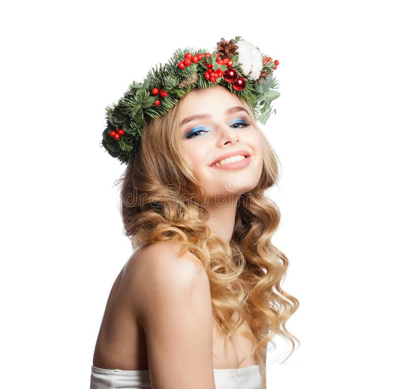 Cheerful model woman isolated on white, Christmas concept royalty free stock images