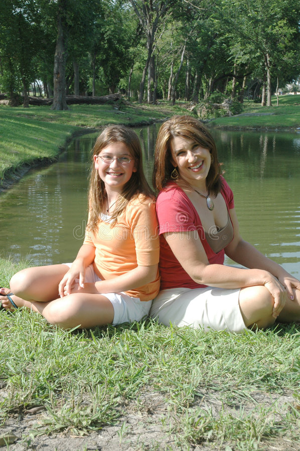 Cheerful mother and daughter royalty free stock photo