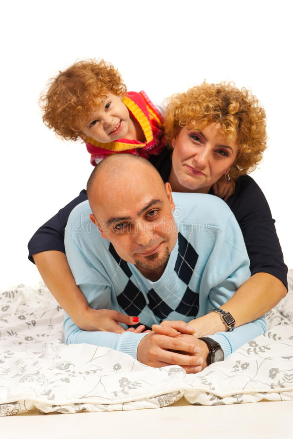 Cheerful mother,father and daughter royalty free stock photos