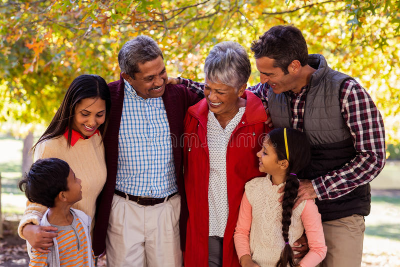 Cheerful multi-generation family standing at park stock image