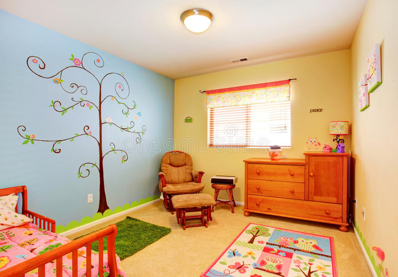 Cheerful Nursery Room Interior Stock Photo
