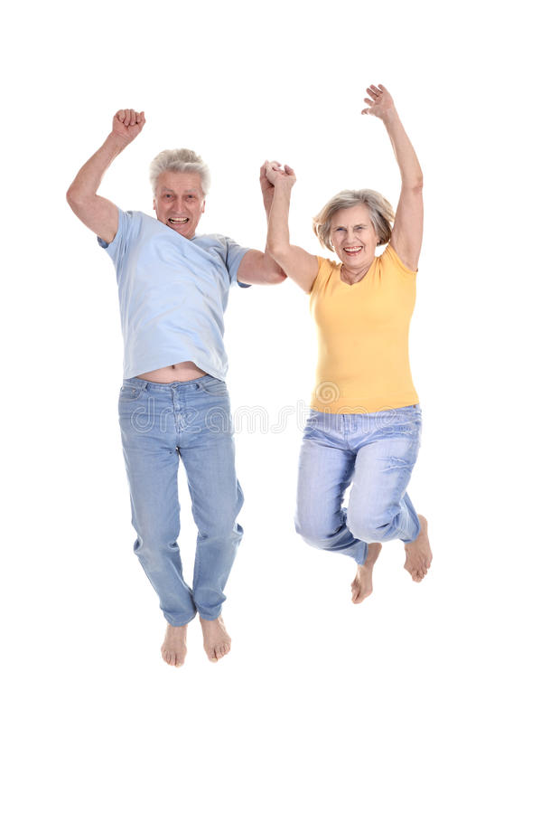 Cheerful old couple stock image