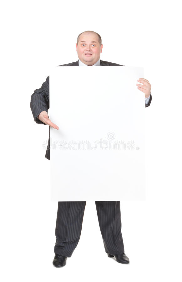 Download Cheerful Overweight Man With A Blank Sign Stock Image - Image: 28904717