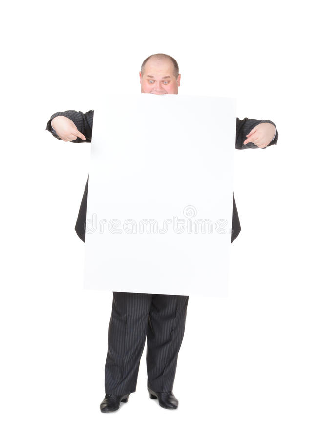 Download Cheerful Overweight Man With A Blank Sign Stock Image - Image: 28904723