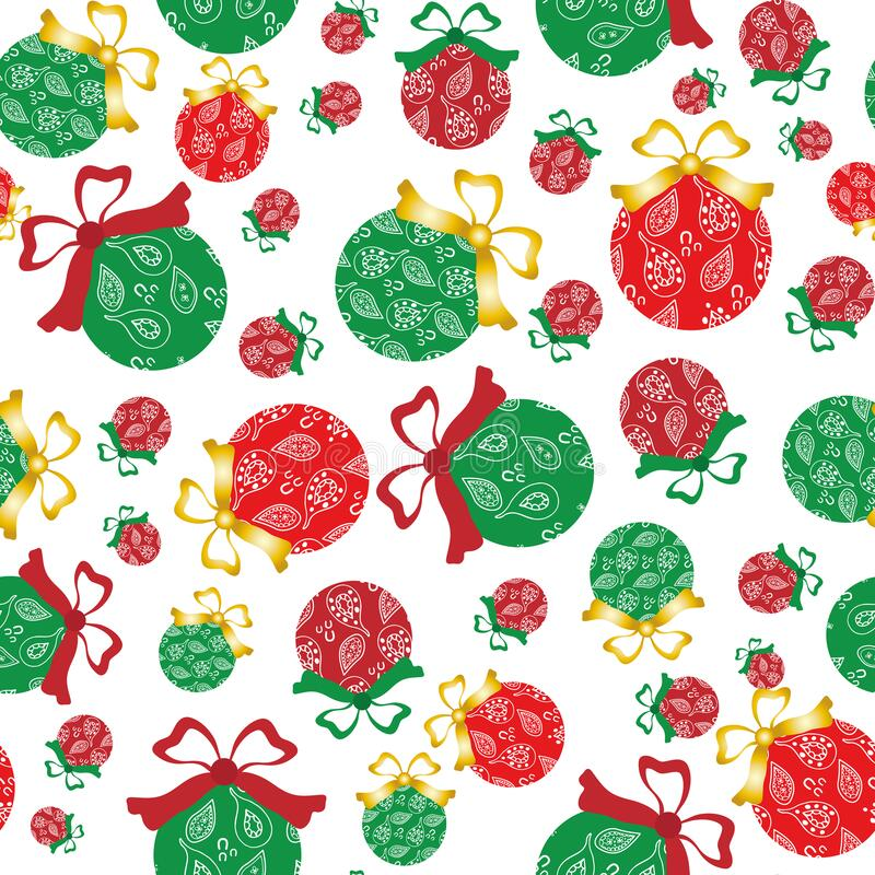 Cheerful paisley baubles vector seamless pattern background. A mix of red and green decorative Christmas tree ornaments. On white backdrop. Hand drawn doodle royalty free illustration