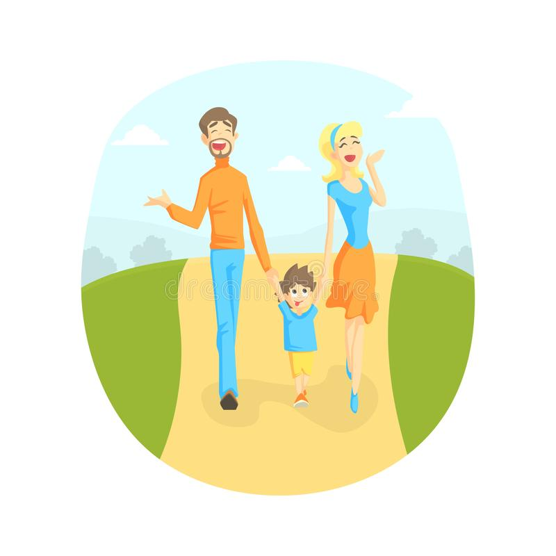Cheerful Parents and Their Toddler Baby Walking in Park Outdoor, Mother, Father and Son Holding Hands, Happy Family stock illustration