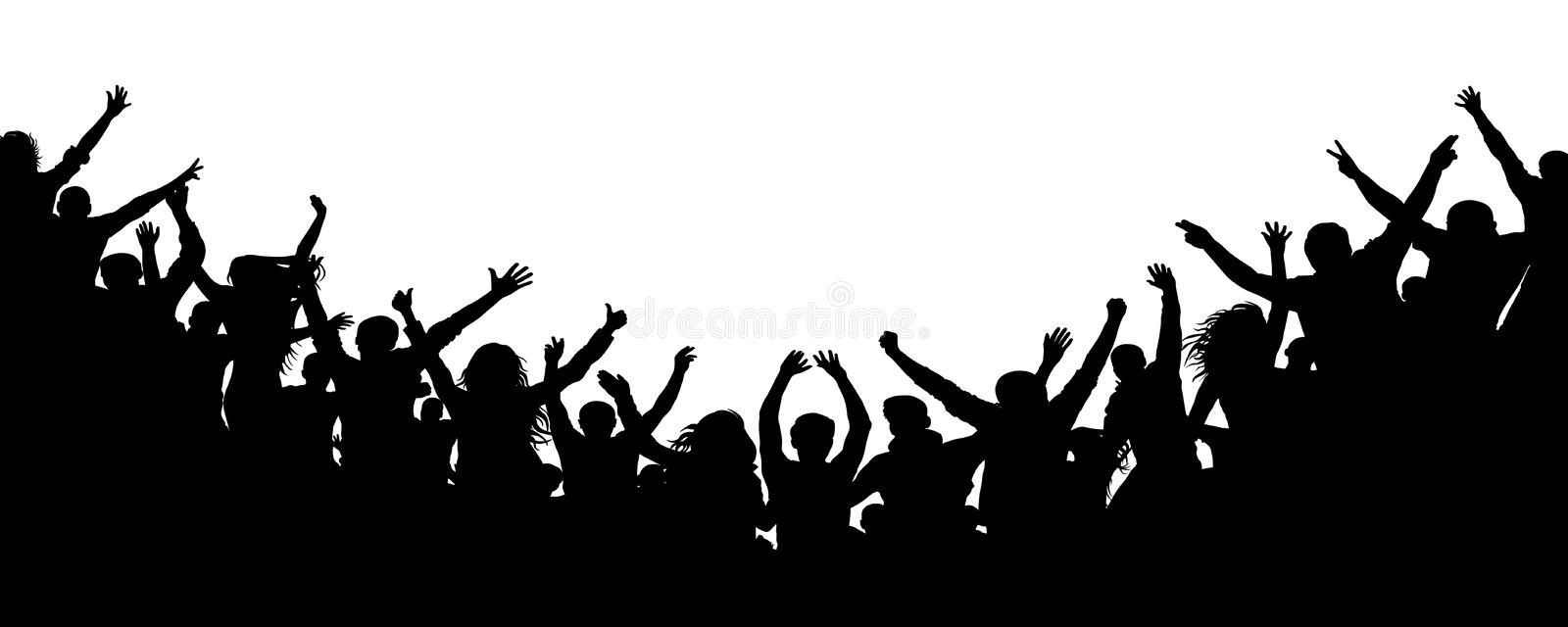 Cheerful people crowd applauding, silhouette. Party, applause. Fans dance concert, disco vector illustration