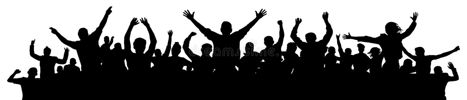 Cheerful people having fun celebrating. Crowd of fun people on party, holiday. Applause people hands up. Emotional event. Silhouette Vector Illustration royalty free illustration