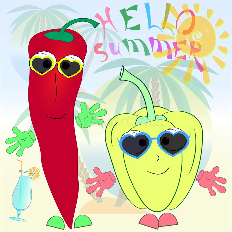 Cheerful peppers cartoon summer poster vector illustration