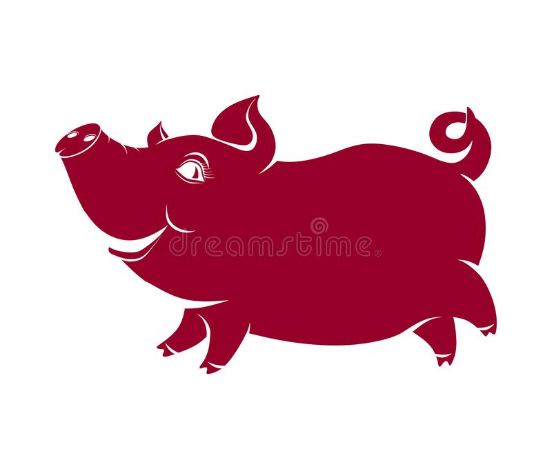 Cheerful pig, comical silhouette royalty free illustration