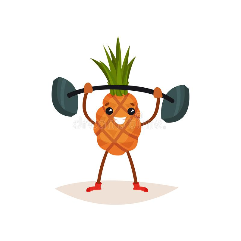 Cheerful pineapple holding barbell over his head. Active physical exercise. Funny humanized fruit. Flat vector icon. Cheerful pineapple holding barbell over his vector illustration