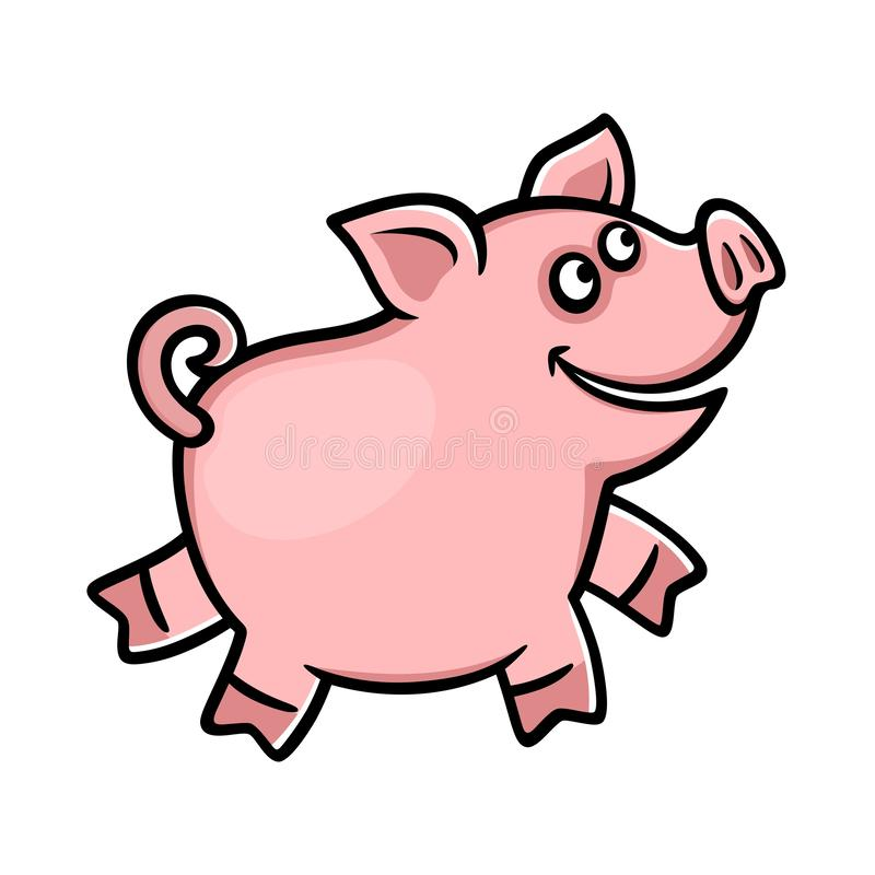 Cheerful pink pig on a white background. royalty free illustration
