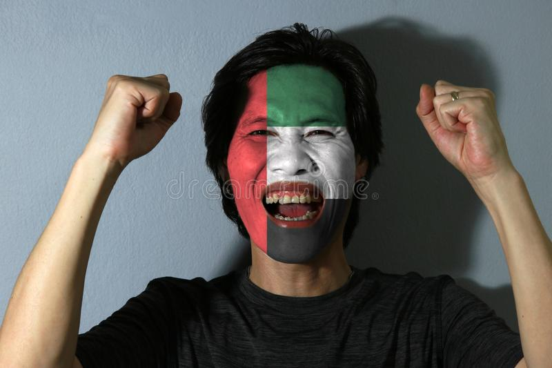 Cheerful portrait of a man with the flag of United Arab Emirates painted on his face on grey background. royalty free stock images