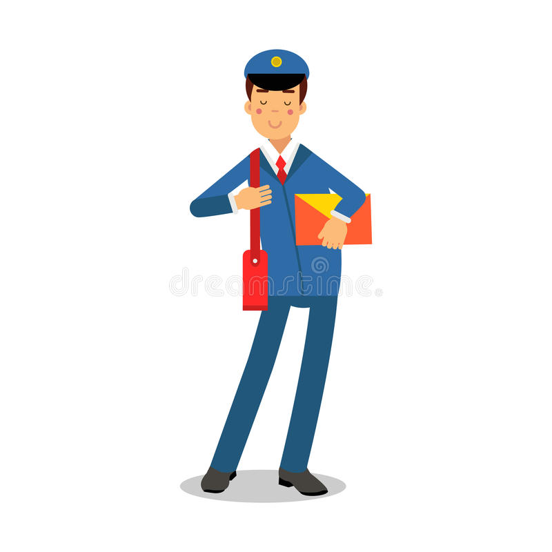Cheerful postman in blue uniform with red bag holding yellow envelope cartoon character, express delivery mail vector vector illustration