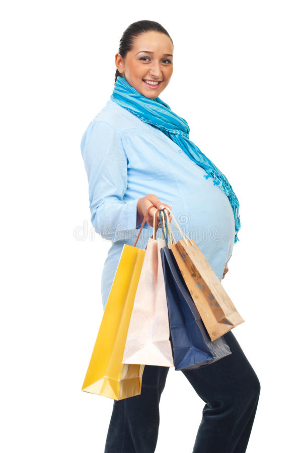 Download Cheerful Pregnant At Shopping Stock Image - Image: 17097087