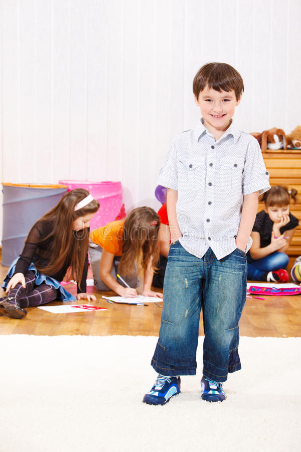 Download Cheerful preschool boy stock image. Image of looking - 18276021