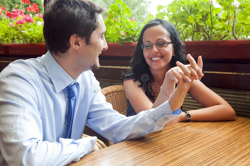 Download Cheerful Pretty Couple At Restaurant Table Stock Photography - Image: 12526962