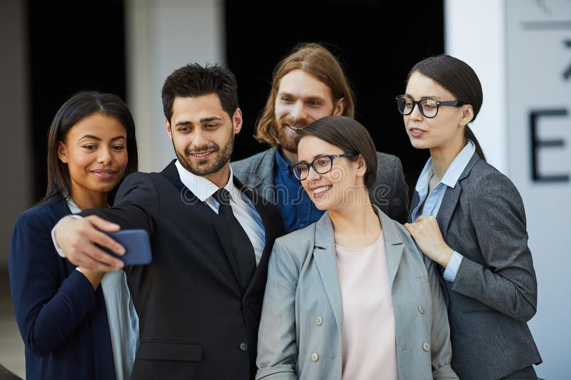 Group selfie of business team stock photo