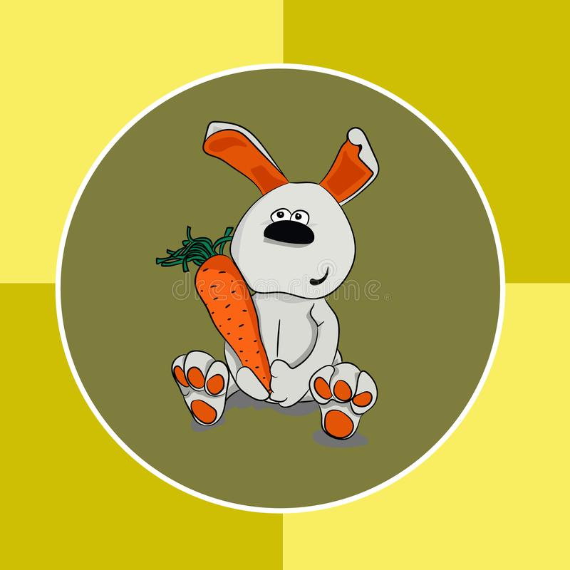 Cheerful rabbit with a carrot on a bright background royalty free illustration