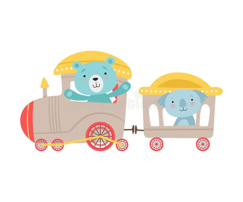 Cheerful Red Cheeked Bear en Koala Driving Toy Train Vector Illustratie royalty-vrije illustratie