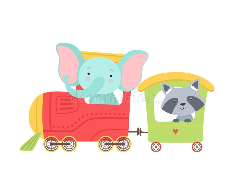 Cheerful Red Cheeked Elephant and Raccoon Driving Toy Train Vector Illustratie stock illustratie