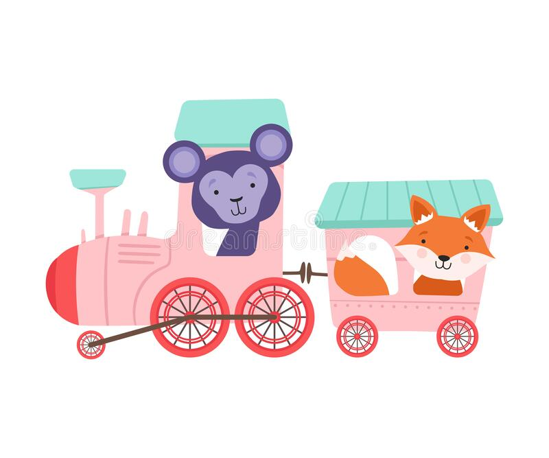 Cheerful Red Cheeked Fox and Bucket Ears Monkey Driving Toy Train Vector Illustratie stock illustratie